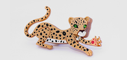 Striking leopard laser cut jewellery by Little Moose