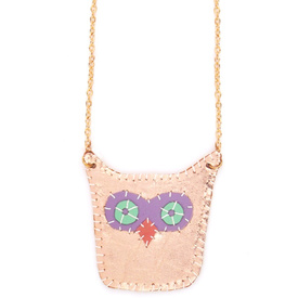 Hetty & Dave  leather Owl necklace