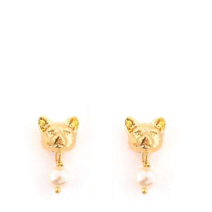 gold cat earrings by bill skinner moose