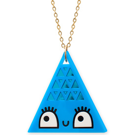'Dont Be Square' Giant Blue Triangle Necklace