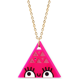 'Dont Be Square' Large Pink Triangle Necklace