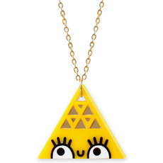 'Dont Be Square' Large Yellow Triangle Necklace