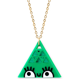'Dont Be Square' Large Green Triangle Necklace