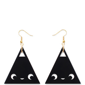 'Dont Be Square' Black Drop Triangle Earrings