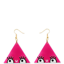 'Dont Be Square' Pink Drop Triangle Earrings