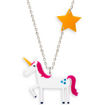 Space Unicorn Necklace with star charm