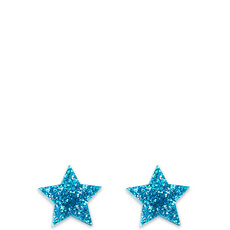 Glitter Blue Star Earrings