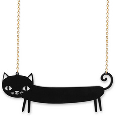 'Catnap' Black Sausage Cat Necklace