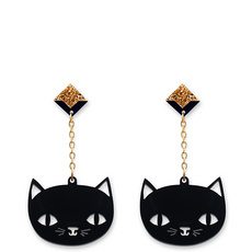 'Catnap' Black Cat Dangly Earrings
