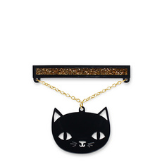 'Catnap' Black Cat Brooch