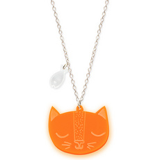 'Catnap' Neon Orange Cat Pendant Necklace