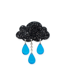 'Raincloud' Large Glitter Brooch