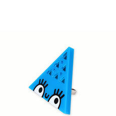'Dont Be Square' Large Blue Triangle Ring