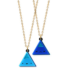 'Dont Be Square' Double Sided Blue Triangle Face Necklace