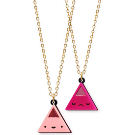 'Dont Be Square' Double Sided Pink Triangle Face Necklace