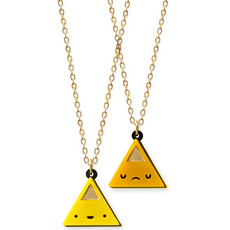 'Dont Be Square' Double Sided Yellow Triangle Face Necklace