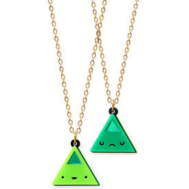 'Dont Be Square' Double Sided Green Triangle Face Necklace