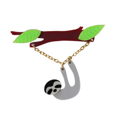 Dangling Sloth Brooch