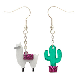 Alpaca & Cactus Earrings