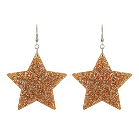 Glitter Gold Star Earrings