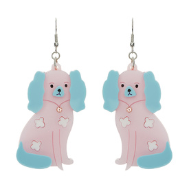 Staffordshire Dog Pink Earrings