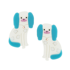 Staffordshire Dog Turquoise Brooch Set