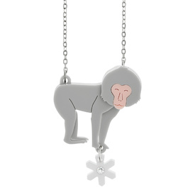 Snow Monkey Pendant Necklace