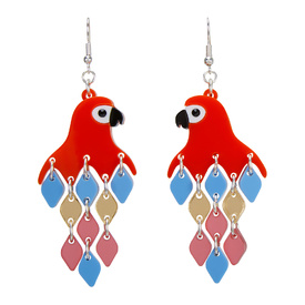 Parrot Red Diamond Earrings