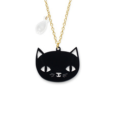 'Catnap' Black Cat Pendant Necklace