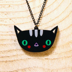 Super cute doodllery cat necklace on long black chain
