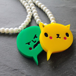 LOLcat acrylic necklace and NSFW necklace