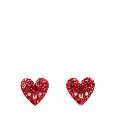 Smiling Glitter Heart Earrings