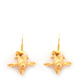 Gold Antelope earrings by Bill Skinner