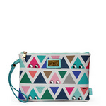 All over triangle print clutch bag, perfect for an evening out.