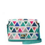 Graphic triangle print satchel handbag influenced by j-culture, kawaii and street style