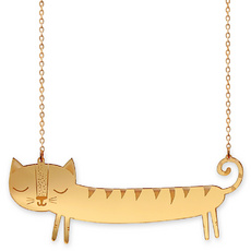 'Catnap' Gold Sausage Cat Necklace