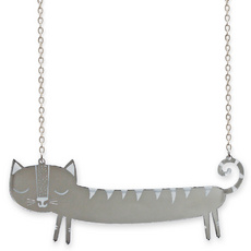 'Catnap' Silver Sausage Cat Necklace