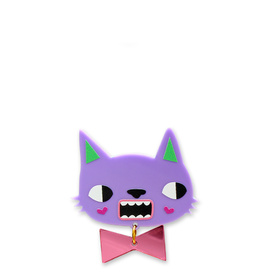 'Idol Eyes'  Lilac Cat Brooch