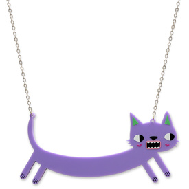 'Idol Eyes'  Lilac Sausage Cat Necklace
