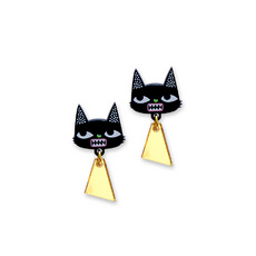'Idol Eyes' Black Cat Stud Earrings