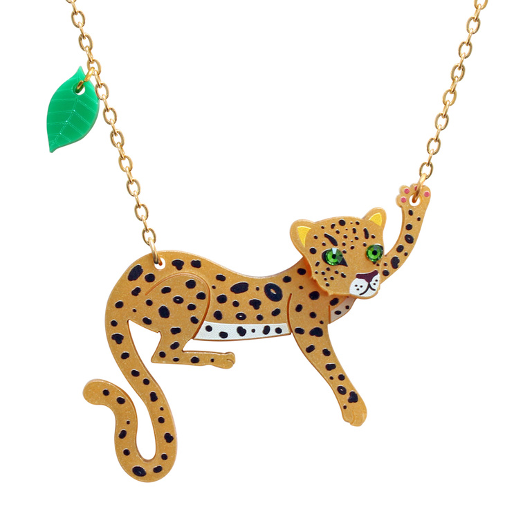 Easy to wear Leopard pendant necklace handmade in the UK from lasercut perspex