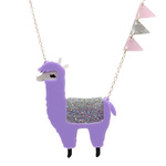 Quirky lasercut alpaca necklace in playful lilac colour. Handmade by Little Moose in the UK.