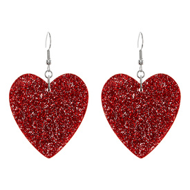 Glitter Red Heart Earrings