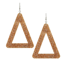 Glitter Gold Triangle Earrings