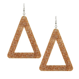 Large Statement Glitter Gold Triangle Earrings