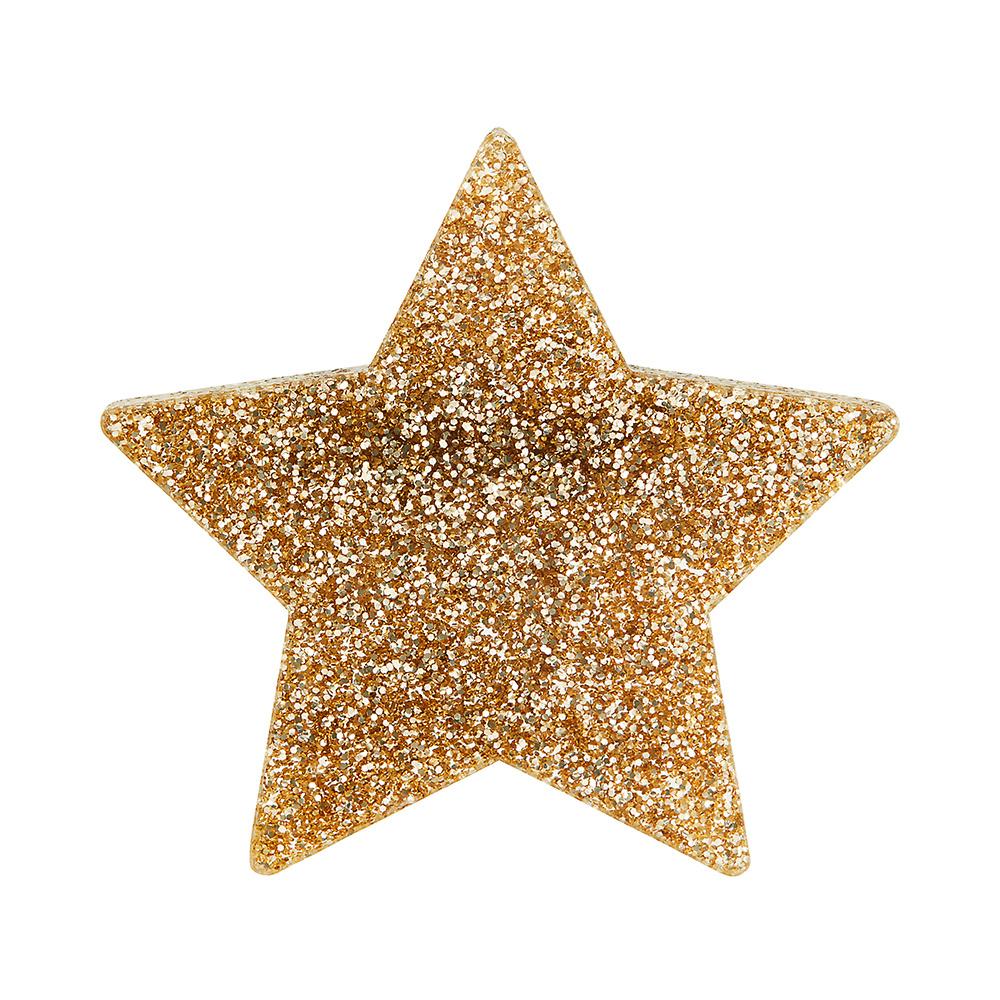 Glitter gold star brooch little moose quirky jewellery