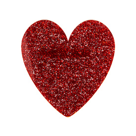 Glitter Red Heart Brooch