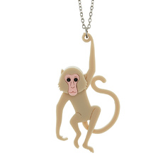 Macaque Monkey Pendant Necklace