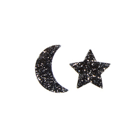 Glitter Black Moon & Star Studs