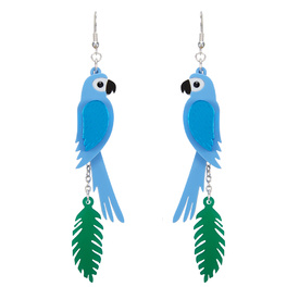 Parrot Blue Leaf Earrings